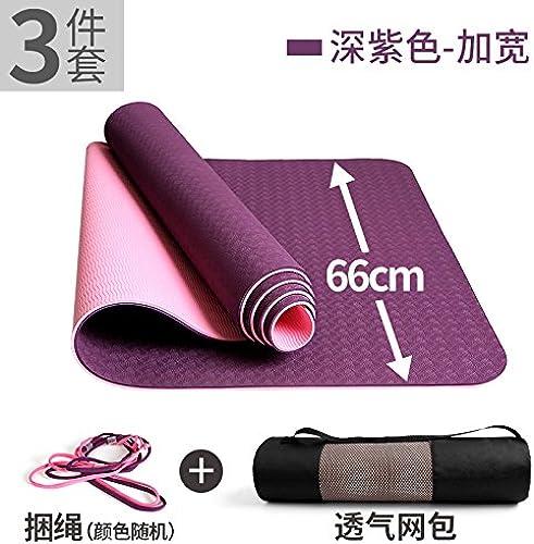 YOOMAT TPE Mat Débutant Yoga Mat Large Extension épais et antidérapage Trois pièces Tapis de Yoga Fitness, 6Mm (Starter), Les Deux Couleurs, Pourpre Riche de Trois Piece157971