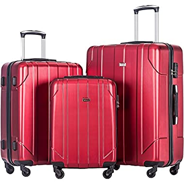 Merax 3 Piece P.E.T Luggage Set Eco-friendly Light Weight Spinner Suitcase (Wine)