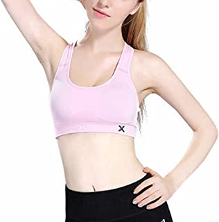 ZYDP Women's Seamless Sports Bra High Impact Full Support Racerback Workout Gym Activewear Bra (Color : Pink, Size : L)