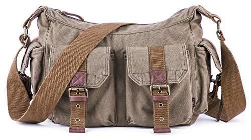 Gootium Vintage Canvas Messenger Bag/Schultertasche Herren, 32cm, Armee Grün