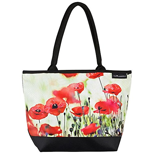 VON LILIENFELD® Bolsa Compras Motivo Bandolera Mujer Arte Floral Amapolas