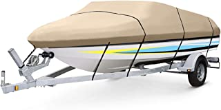 VIVOHOME Heavy Duty 600D Boat Cover with Adjustable Strap and Safe Lock, Trailerable Waterproof for V-Hull Fishing Ski Runabout Bass Boats, Beige