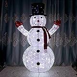ZHANGXJ Muñeco De Nieve Escultura Decoración Navideña de Hierro Forjado, Navidad Hinchable Adorno LED Estatuas, Inflable Linterna Iluminada Decorativa Luminoso Jardin Exterior Interior,180CM