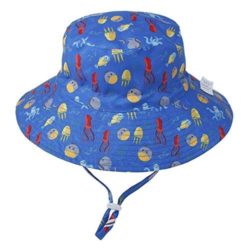 Verano beb Sombrero para el Sol nios Gorra nios Unisex Playa nias Sombreros de Cubo Dibujos Animados Infantil proteccin UV-octopus-1-3-8 Years Old