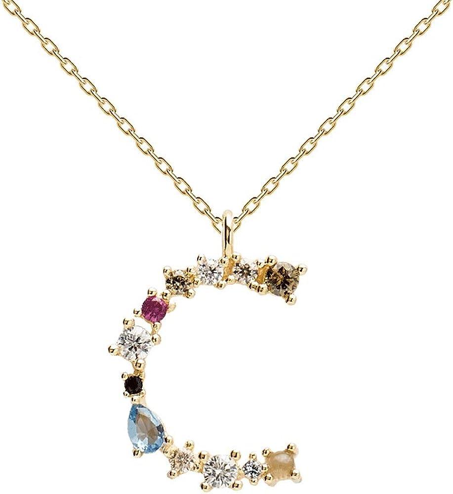P d paola collana per donna lettera c - argento sterling 925 placcato in oro 18 carati CO01-098-U