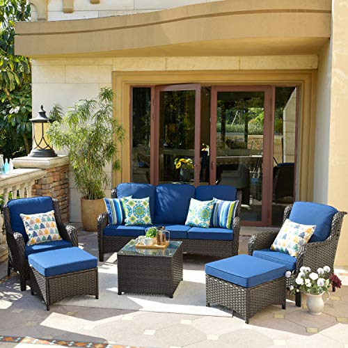 XIZZI Patio Furniture,Outdoor Furniture,All Weather Wicker Patio Set with High Back Sofa and Glass...