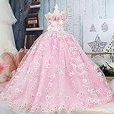 末尾のウェディングドレス、猫と犬のガールフレンドのライトピンクの花刺繍ペットプリンセスドレス、クリスマス、週末、パーティー犬の特別な贈り物,XS