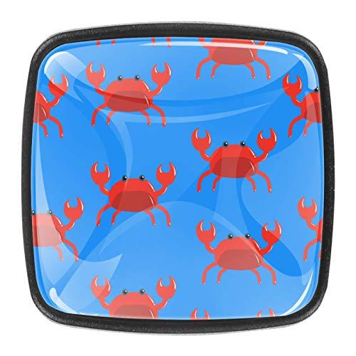 4 pomos cuadrados para aparador – Colorido decorativo floral cajón manija decoración del hogar Hardware Tiradores patrón rojo cangrejo azul fondo