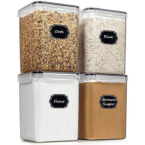 Blingco Frischhaltedosen, luftdicht, hoch, für trockene Lebensmittel, 4er-Set (5,2 l, für Mehl, Zucker, Backzubehör, Küche und Speisekammer, Vorratsbehälter mit Deckeln