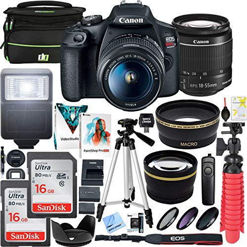 Canon T7 EOS Rebel DSLR Camera with EF-S 18-55mm f/3.5-5.6 is II Lens Bundle with Deco Gear Camera Bag Case Plus Double Battery Photo Video Tripod Software Kit and Accessories