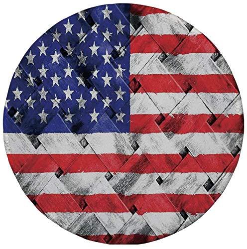 "Rutschfreies Gummi-Rundmaus-Pad, rustikale amerikanische USA-Flagge, Unabhängigkeitstag am 4. Juli Rattan Rippled Weave Bamboo Art Decorative, 7.9\""x7.9\""x3MM"