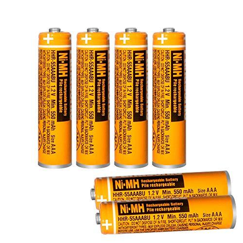 6 x Baterías Recargables HHR-55AAABU NI-MH para Panasonic 1.2V, 550mAh Batería AAA para Teléfonos Inalámbricos