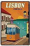 Letrero de Metal Vintage de Lisboa, Portugal, autobús, casa, Bar, Cocina, Hotel, decoración de Pared de 30,4 x 20,3 cm