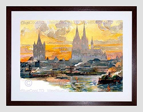Wee blauwe Coo ansichtkaart Keulen kathedraal Petrus Domkirche rivier Duitse ingelijste muur Art Print