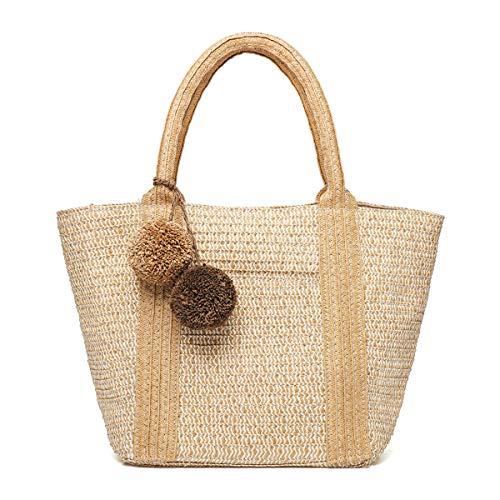 JOSEKO Bolso tejido de paja, bolso de playa de verano, bolso de hombro para mujer, bolso con asa de bola de felpa con asa de cuero, adecuado para viajes diarios (Marrón claro)