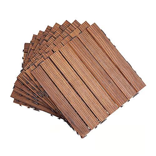 JIAJUAN Holzfliesen Balkon Ineinandergreifend Natürlich Hölzern Deck Bodenbelag Fliesen, Wasserdicht Haltbarkeit, Draussen Terrasse Fertiger Streifen Muster, 2,2 cm Dick