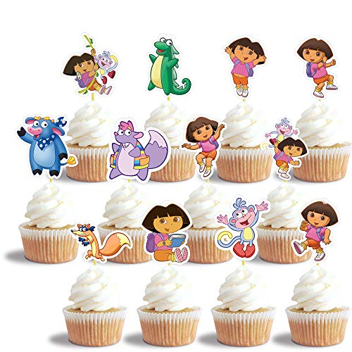 24 Dora Cupcake Toppers Set, Happy Birthday Cake Toppers, Cake Decorations for Bday Theme Party