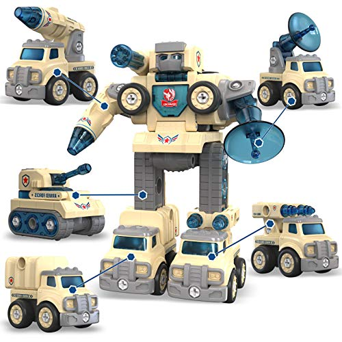 5 in 1 Military Vehicle Transformer, Take Apart Toys for 5 to 8 Year Old Boys & Girls, Toddler Rocket Tank Car, Kids Holiday Stem Educational Learning Robot