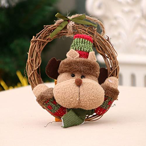 JRZSZMD Creatieve mini-slinger, kunststof, rotanring, hert, handgemaakt, Wreath Merry Xmas Party Decor Shopping Wall Hanging Vakantie Ornament
