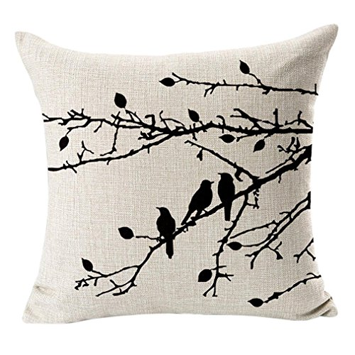 Poens Dream Cuscino, Abstract Nature Bird and Tree Cotton Linen Decorative Throw Pillow Case Cushion Cover, 17.7 x 17.7inches