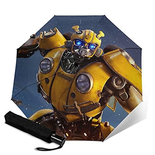 Transformers Bumblebee Paraguas automático de tres plegables, paraguas plegable a prueba de viento, viaje compacto, apertura y cierre automático, resistente y fácil de usar