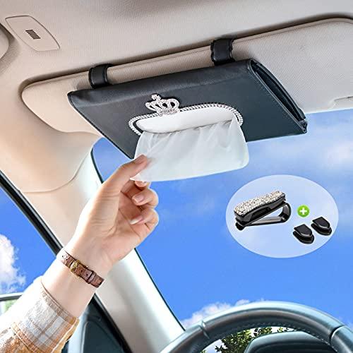 BILIENTE Car Tissue Holder, Bling Mask Holder for Car, Sparkly Visor Tissue Holder with Bling Sunglass Holder for Car, PU Leather Universal Car Tissue Case Bling Car Accessories for Women (Crown)