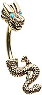 Never Ending Dragon Gold Plated Steel Belly Button Ring (Sold by Piece)