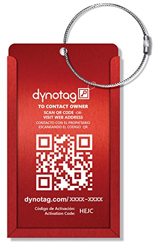 Dynotag Web Enabled Smart Aluminum Convertible Luggage ID Tag + Braided Steel Loop, with DynoIQ & Lifetime Recovery Service (Ruby Red)