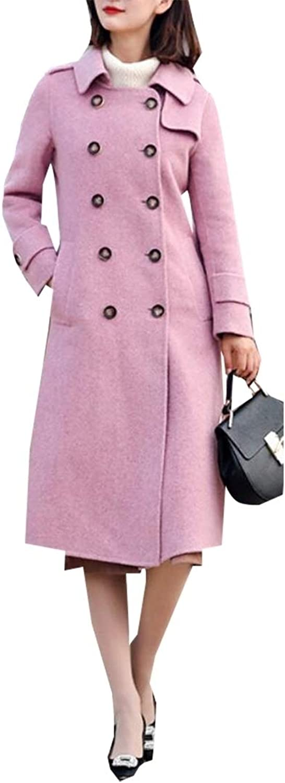 Sanderso Women's Vintage Double Breasted Thicken Wool Blend Long Pea Coat Overcoat