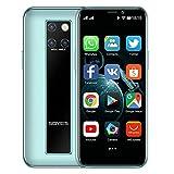 Mini-Smartphone 3,5-Zoll-HD-Display 4G Dual-SIM-Handy Android OS 9.0 Quad-Core-GPS entsperrtes Handy3GB+32GB(Cyan)