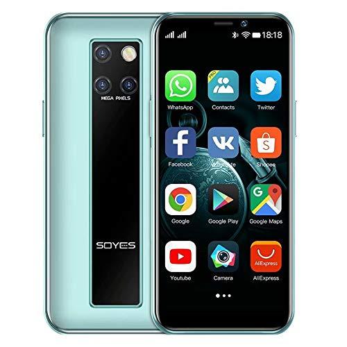 Mini Smartphone 3.5 pollici HD schermo 4G Dual SIM telefono cellulare Android OS 9.0 Quad-core GPS sbloccato cellulare 3GB+32GB(ciano)