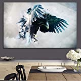 wZUN Acuarela Abstracta pájaro águila Paisaje Pintura al óleo Lienzo Arte Pop Animal Cartel Sala de Estar Pintura de Pared 60x100 Sin Marco