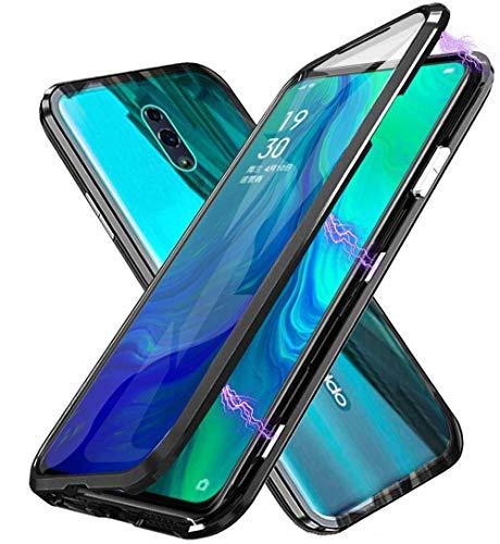 HongMan Hülle Magnetic Adsorption Handyhülle für Oppo Find X2 Neo 5G, Einteiliges 360 Grad Komplettschutz Metall Bumper, Gehärtetes Glas Schutzhülle Panzerglas Folie Durchsichtige Case Cover, Schwarz