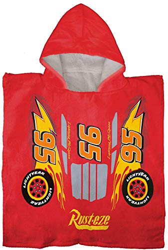 Jay Franco Disney Pixar Cars McQueen Bath/Pool/Beach Hooded Poncho - Super Soft & Absorbent Cotton Towel, Measures 22 x 22 Inches (Official Disney Pixar Product)