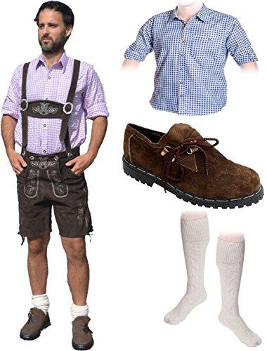 Herren Trachten Set A 5-teilig Trachten Lederhose * kurz * Dunkelbraun 46-60 Trachtenhemd Schuhe Socken Oktoberfest