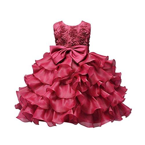 Kobay Kinder Baby Mädchen Blumen Geburtstag Hochzeit Brautjungfer-Festzug Prinzessin Abendkleid (110/4-5Jahr, Heiß Rosa)