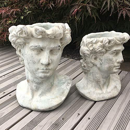 villa-lilla Valo Pflanzbüste Gartenbüste Römisch/Griechisch Antiker Männerkopf zum bepflanzen 27cm groß