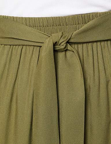 Marca Amazon - find. Falda Larga para Verano Mujer, Multicolor (Khaki), 38, Label: S
