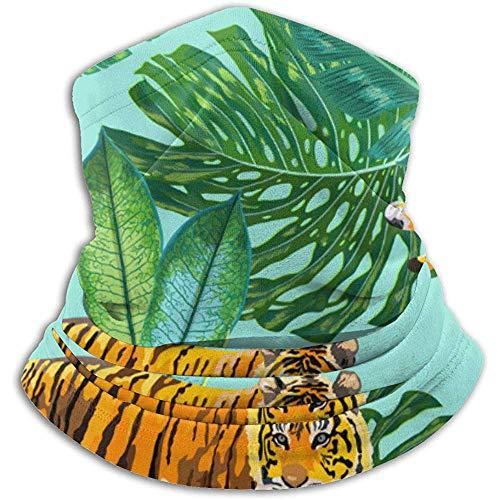 Bufanda de Cuello Tigres en Hojas de Palmeras Tropicales Pasamontañas Máscara de esquí Más cálido Invierno Abrigo para la Cabeza