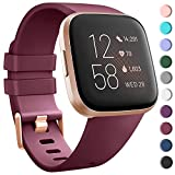 Tobfit Sport Bands Compatible with Fitbit Versa 2/Versa/Versa Lite/Versa SE, Soft TPU Wristbands Accessories for Women Men (Wine Red, Small)