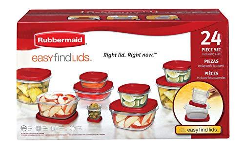 Rubbermaid - Set di contenitori per alimenti, confezione da 1, confezione da 24; quantità totale oggetti: 24