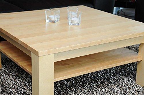 Holz-Projekt-Summer Couchtisch 90 x 60 cm mit Ablage Ahorn/Echtholz/Massivholz/Höhe 42 cm