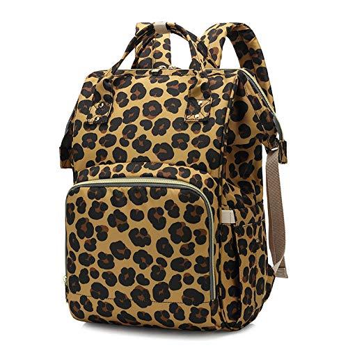 qiqiu Mochila Bebe Bolso de momia, bolso de bebé, multifunción, gran capacidad, gran apertura, bolsa de pañal para bebé-Estampado de leopardo Bolso Carrito Bebe