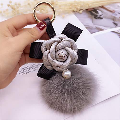 Y-M-H Llavero Creativo Bowknot Camelia Moda Mochila Muñeca Bolsa Linda Colgante 15 cm (Color : A)