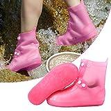 ZURITI Funda Impermeable Reutilizable para Zapatos, Protector Antideslizante Plegable De PVC con Hebilla, Fundas De Silicona para Botas De Lluvia para NiñOs, Mujeres Y Hombres, De CañA Alta XL Pink