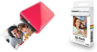 Polaroid ZIP Mobile Printer (Red) with Polaroid ZINK Photo Paper TRIPLE PACK (30 Sheets)