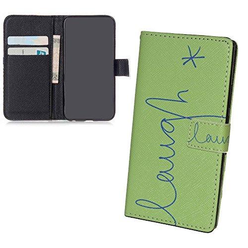 König Design Handyhülle Kompatibel mit Wiko Ridge 4G Handytasche Schutzhülle Tasche Flip Hülle mit Kreditkartenfächern - Lachen Design Grün