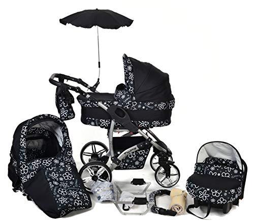 Twing - Landau pour bébé + Siège Auto - Poussette - Système 3en1 + Accessoires (Système 3en1, petites fleurs blanches)