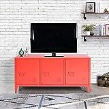 Yata Home Enfilade Schrank, Kommode, für Kabinett, Aufbewahrung, Metall, Stahl, Türgriff, 3 Türen rot