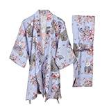 Traje de Pijama de Albornoz Yukata para Mujer Kimono Robe [Purple Pray Rabbits]